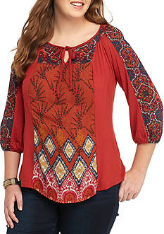 New Directions Plus Size Mixed Print Peasant Top