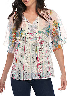 New Directions Floral Printed Chiffon Kimono Sleeve Tunic
