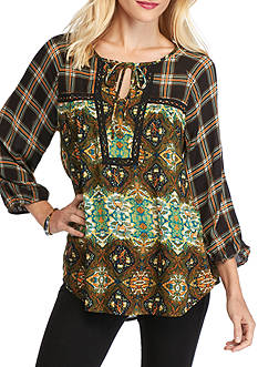 New Directions Floral Plaid Tie Neck Blouse