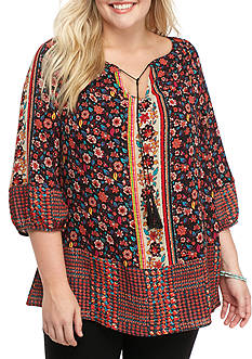 New Directions The Josephine Border Print Blouse