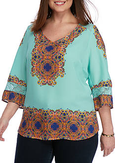New Directions Plus Size Linda Border Print Blouse