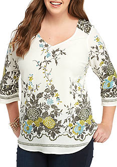 New Directions Plus Size Bell Sleeve Lace Back Tunic