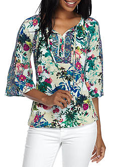 New Directions® Petite Pandora Lace Up Floral Blouse