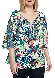 New Directions Plus Size Floral Print Tie Neck Blouse