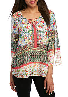 New Directions Patsy Multi Print Lace Up Blouse