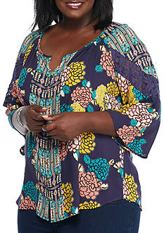 New Directions Plus Size Pepper Floral Top