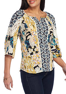 New Directions® Petite-Size Mixed Media Blouse