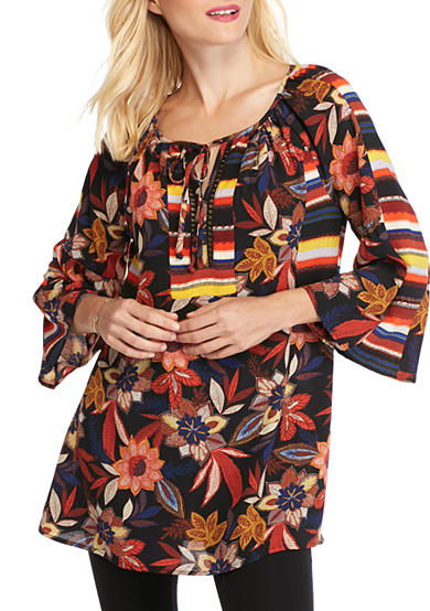 New Directions® Rose Printed Tunic Top