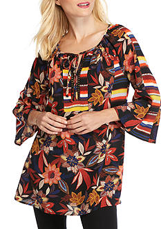 New Directions Rose Printed Tunic Top
