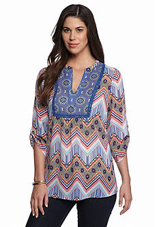 New Directions® Floral Chevron Tunic Blouse