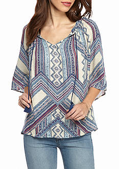 New Directions Tribal Print Smock Neck Tie Front Blouse