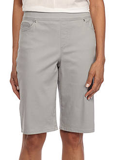 Gloria Vanderbilt Pull-On Twill Bermuda Shorts