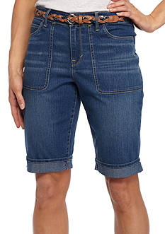 Gloria Vanderbilt Rachel Belted Bermuda Denim Short