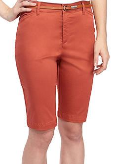 Gloria Vanderbilt Anita Belted Bermuda Twill Shorts