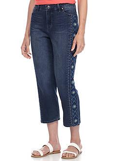 Gloria Vanderbilt Jordyn Embroidered Leg Denim Capris