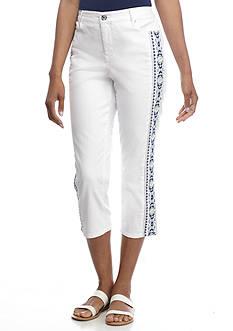 Gloria Vanderbilt Jordyn Embroidered Leg Twill Capri