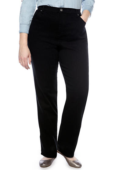 Gloria Vanderbilt Plus Size Amanda 5 Pocket Jean in Black - Average Length