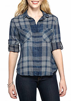 Cloth & Stone Checked Split Back Blouse
