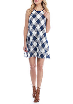 Cloth & Stone Plaid Frayed Hem Halter Dress