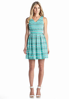 CYNTHIA Cynthia Rowley® Stripe V-Neck Fit-and-Flare Dress