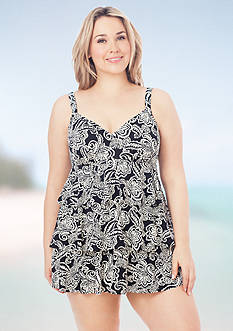 Shapesolver Plus Size Vanilla Lace Triple Tier Swimdress