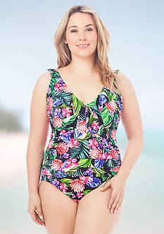 Shapesolver Plus Size Cabana Ruffle One Piece