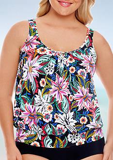 Shapesolver Plus Size Bora Bora Shirred Neck Blouson Tankini Swim Top