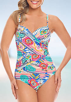 Shapesolver Summer Festival Crossover One-Piece Swimsuit