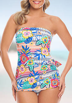 Shapesolver Summer Fest Bandeau Sarong One Piece Swimsuit