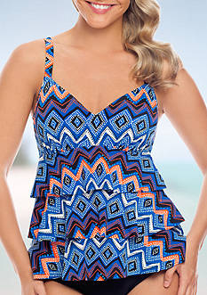 Shapesolver Zig To The Zag Faux Triple Tier Tankini Swim Top