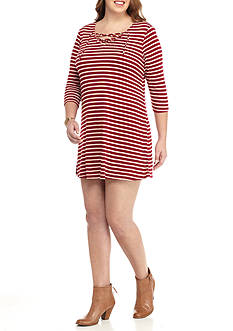 Red Camel® Plus Size Rib Lace Up Stripe Dress