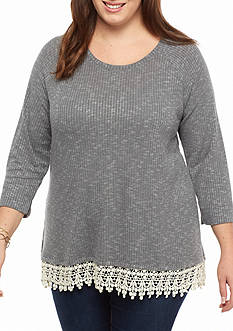 Red Camel Plus Size Rib Knit Crochet Trim 2Fer Top