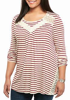 Red Camel Plus Size Crochet Panel Stripe Knit Top