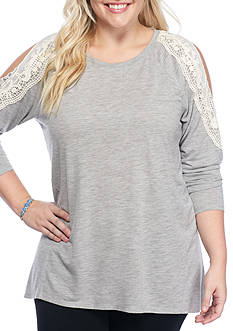 Red Camel® Plus Size Crochet Cold-Shoulder Top