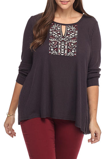 Red Camel® Plus Size Keyhole Embroidered Waffle Top