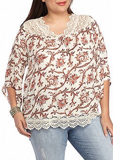 Red Camel® Plus Size Printed Crochet Trim Top