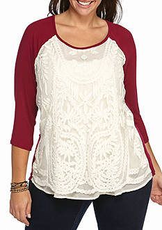 Red Camel Plus Lace Overlay Tee