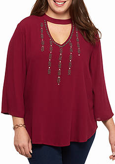 Red Camel Beaded Blouse with keyhole neckline