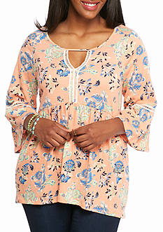 Red Camel® Floral Print Bell Sleeve Knit Tunic