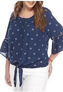 Red Camel® Plus Size Tie Front Flounce Blouse
