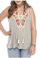 Red Camel® Plus Size Embroidered Crochet Tank