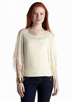 Red Camel® Poncho Top With Fringe