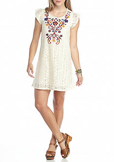 Red Camel Embroidered Lace Dress