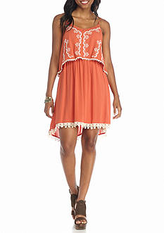 Red Camel Embroidered Gauze Dress