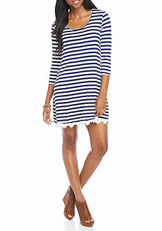Red Camel Striped Knit Dress