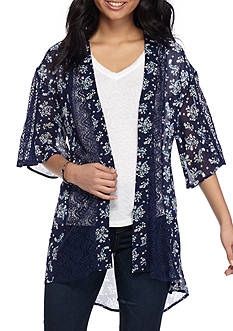 Red Camel Floral Printed Kimono