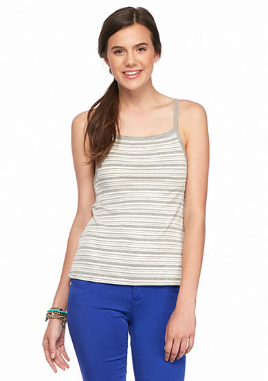 Red Camel® Thin Strap Knit Stripe Tank