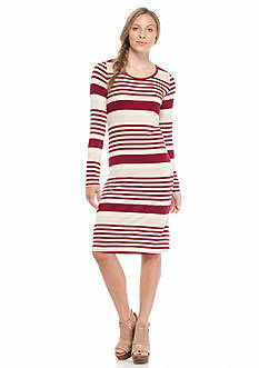 Red Camel Midi Long Sleeve Knit Dress
