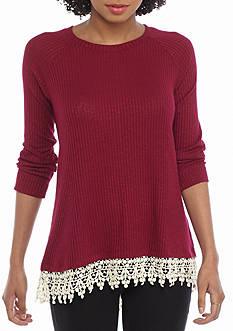 Red Camel Rib Crochet 2Fer