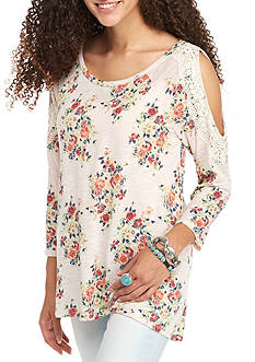 Red Camel Cold Shoulder Lace Sleeve Top